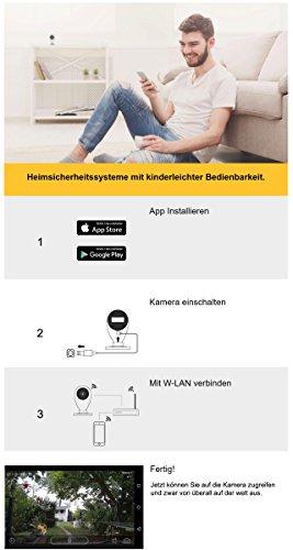 HiKam S6L Überwachungskamera für innen mit App, optimale Videoüberwachung, Datensicherheit mit Deutscher Server, WLAN IP Kamera HD, Babyphone mit Kamera