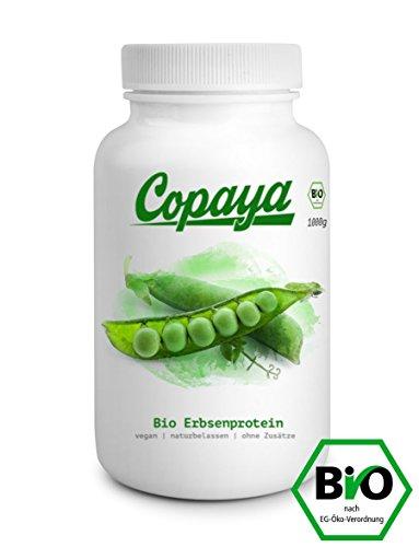 Copaya® | 100% Hochwertiges Veganes Bio Erbsenprotein Isolat mit 82% Eiweißgehalt - Rückstandskontrolliert und Naturbelassen inkl. GRATIS Shaker
