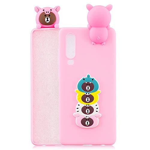 l für Huawei P30 Hülle Handyhülle Silikon TPU Ultra Dünn Slim Stoßfest Bumper Schutzhülle Tasche Case Cover mit 3D Muster - Emoji Bär Pink Rosa ()
