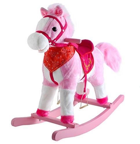 Schaukelpferd Interaktiv + Musik Schaukeltier Plüsch Kinder Spielzeug 4 Farben #4589, Farbe:Rosa