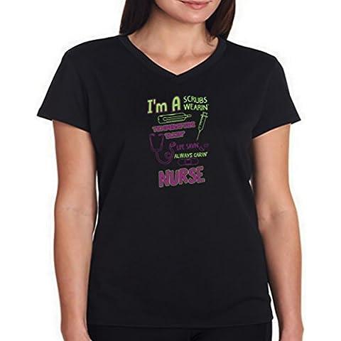 Camiseta cuello V de mujer Nurse I'm A Scrubs Wearin'