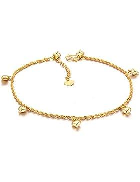 Fashmond Golden Fußkettchen Fußkette für Damen Frauen Mädchen Herren Männer Kinder Freundin Freund aus Legierung...