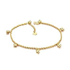 Fashmond- Bracelet de Cheville coeur- alliage plaqué or 18k longeur 21+5cm- Idée Cadeau Anniversaire