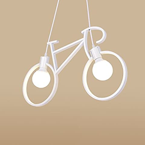 LOFAMI Modern Industrial Bicycle Chandelier 2 light Iron Ceiling Light E27 Cafe Restaurant Living Room Hanging Lamps ( Color : White