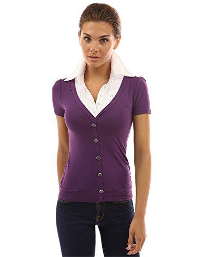 PattyBoutik Damen Hemdbluse 2-in-1 mit Plissee lila und weiß ...
