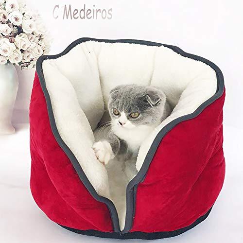 Katzenhöhle Katzenbett Ultra weiche Schlafsack waschbar Kuschelsack Decke Matte für Kitty Welpen,Red