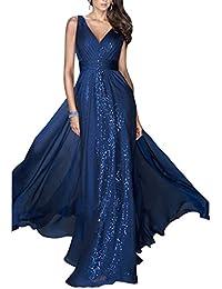Guiran Donna Elegante Senza Maniche V Collare Abito da Sera Damigella  Cocktail Cerimonia Lunghi Vestito Blu ef7f45cfb4c