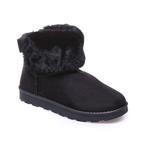 La Modeuse - Boots fourrées en simili daim Noir