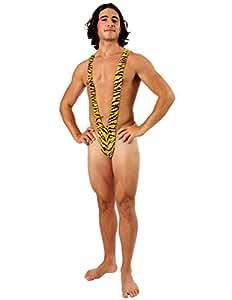 Déguisement Adulte Costume Homme Mankini Imprimé Tigre Maillot de Bain Borat