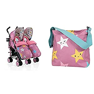 Cosatto Supa Dupa Double/Twin Stroller, Suitable from Birth, Happy Stars with Change Bag   13
