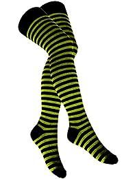 Overknee Socken Hellgrün Geringelt