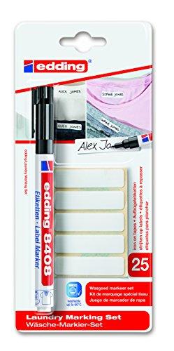 edding waeschemarker edding 8408 Label Marker - Wäsche-Markier-Set - Zum dauerhaften Beschriften und Markieren von Textilien und Kleidung - Farbe: Schwarz