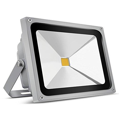 Auralum 50W LED Fluter Außenstrahler, 4500 Lumen 230V IP65 Wasserdicht 3000K Warmweiß, 10 Jahre Garantie
