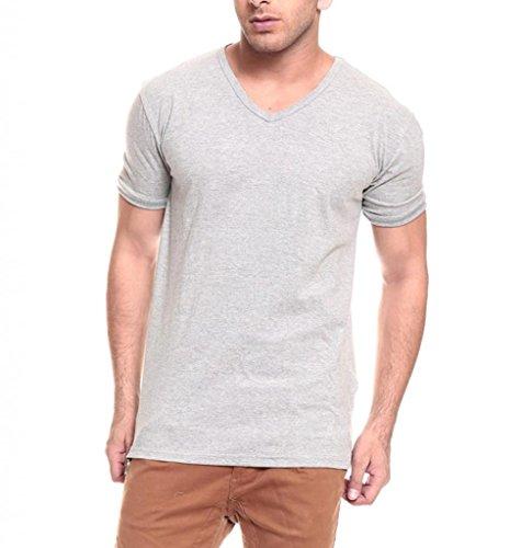 IZINC Izinic Men's V-Neck Half Sleeve Cotton T-Shirt [Grey_Small]