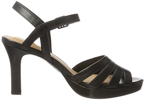 Clarks 26123088, Sandali con Tacco Donna Nero (black Leather)