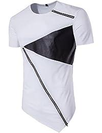 Malloom Chemisier irrégulier Hommes T-Shirt Coton Manches Courtes Hedging Slim Fit