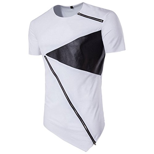 Malloom Coton Manches Courtes Chemisier irrégulier Hommes T-Shirt Hedging Slim Fit Malloom®_Vêtements
