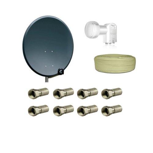 PremiumX Antenne 80cm Stahl , Digital Sat Schüssel Spiegel Anthrazit + Opticum Quad LNB 0,1dB Testsieger + 50m PremiumX Koaxial Kabel 130dB 4 fach geschirmt Sat Kabel Antennenkabel + 8 x F-Stecker 7,5mm mit Gummidichtung Gratis !!!
