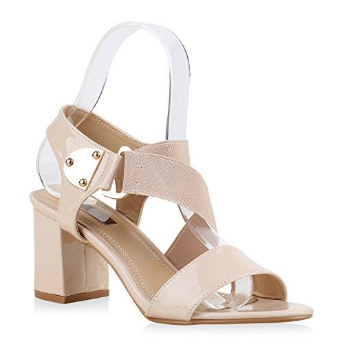 Quasten Heels Sandaletten Damen Blockabsatz Lack High Creme Fransen Schuhe SxUqw6v7