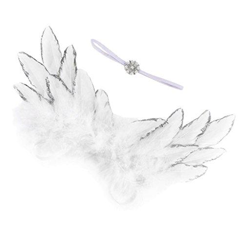 Machen Engel Wie Flügel Sie Kostüm - Homyl Neugeborenes Baby Engelsflügel Kostüm Haarband Stirnband Kopfschmuck Foto Prop Fee Engel Flügel Fotografie Props Fotoshooting Requisiten - Weiß, wie beschrieben