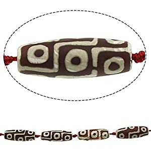 1pc Braun Weiß 9 Augen Tube tibetischen Achat Dzi Perlen, Natürliche Edelstein-Stein Große Brennweite Feng-Shui-Armband-Anhänger 40mm x 14mm – 17mm Loch