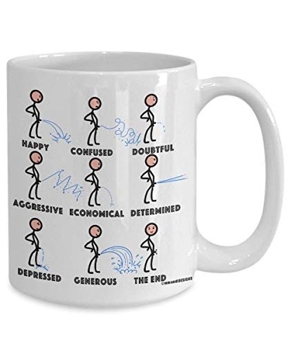 ChGuangm Mens Morning Coffee Mug Funny Emotional Pee Prostate Test Cup Fun Feelings Gift for him Your Husband Boyfriend Man Partner