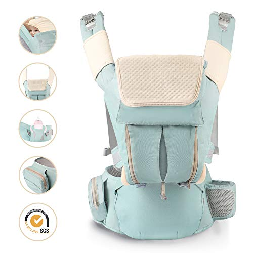 Porte bébé Ergonomique Kangourou Sac à Dos à 30 Kg Multiposition Réglable Ventraux & Dorsaux Pur Coton Léger et Respirrant Comfortables Adaptés Naissance Enfant 0 à 3 Ans