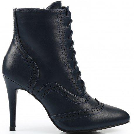 Ideal Shoes - Bottines montantes à talon Joane Marine