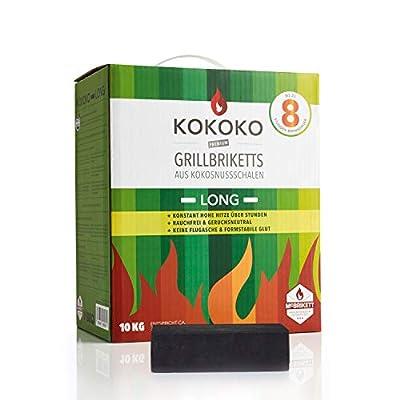 KOKOKO LONG Grillbriketts von McBrikett, 10kg, Grillkohle ideal für Smoker, Schwenkgrill & Gastronomie < 8 Stunden lange Brenndauer