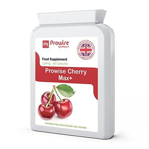 Cherry - Prowise Cherry Max 750mg 90 Kapseln - High Strength Freeze Getrocknete Montmorency Kirschen - UK hergestellt nach GMP für gleichbleibende Qualität - Geeignet für Vegetarier & Veganer