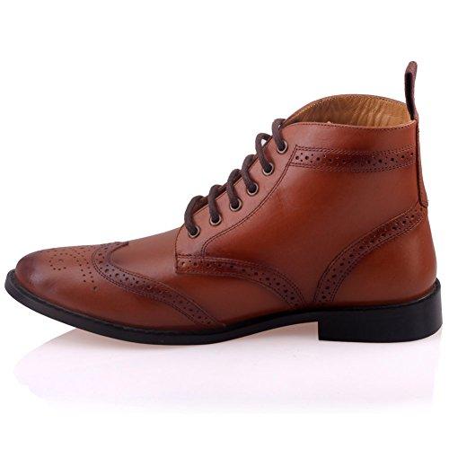 Unze Taylor ' cuir Bottes Hommes intelligente formelle combat Brogue dentelle Bottines Chaussures Foncé Tan
