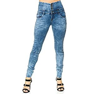 Elara Damen Stretch Jeans Skinny High Waist Chunkyrayan