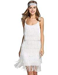 a846a446b Amazon.es: Vestido Flecos Blanco - S / Mujer: Ropa