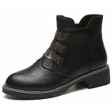 Rtry Femmes Chaussures Pu Automne Bottes De Combat Bottes Bottes Bout Rond Bout Toe Sequin Pour Casual Noir Noir Us8 / Eu39 / Uk6 / Cn39 Us6.5-7 / Eu37 / Uk4.5-5 / Cn37