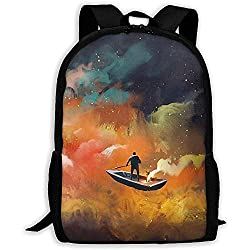 Boot, das Bunte Nebelfleck-Druck-Erwachsene Rucksack-Laptop-Schulter-Tasche schwimmt