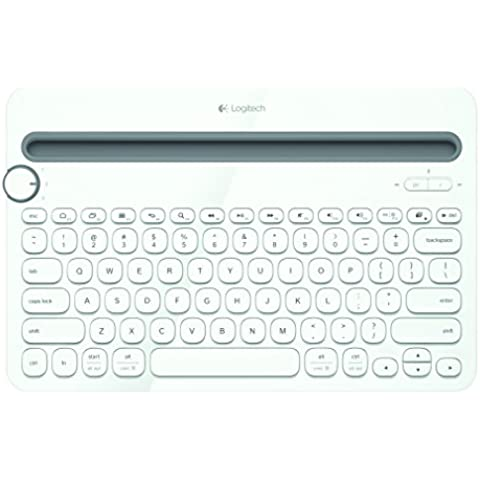 Logitech K480 Multi Device Bluetooth Keyboard for PC, Smartphone and Tablet (QWERTY) - White, [Importado de UK]