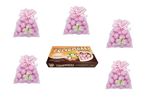 24 Tüllbeutel Prima Kommunion Rosa 1 kg Konfetti Tenerelli Snob Rosa ADDOBBI Tisch FESTA - Kit Cdc- (24 Beutel + 1 kg Haselnuss)