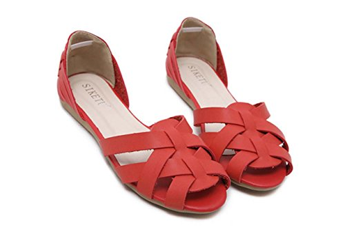 Femmes Peep Toe Chaussures Plates Chaussures Wedge Chaussures Décalées Creuses D'orsay Chaussures Talon Talon Chaussures Mama Safety Pregnant Red