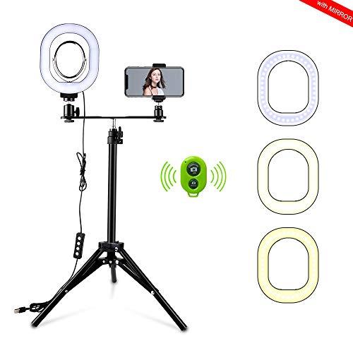 Heorryn Selfie Ringlicht, 6 Zoll Mini LED Ringlicht mit Stativ und Handyhalter Dimmbarer Kreis Spiegel Beleuchtung Bluetooth Ringlichter für Telefon und Kamera Live Stream Makeup Vlog Videofotografie