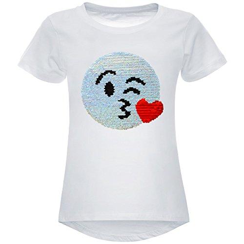 e Pailetten Stretch T-Shirt Smile-Motiv 22606, Farbe:Weiß, Größe:104 (Neue Kinder Kostüme)