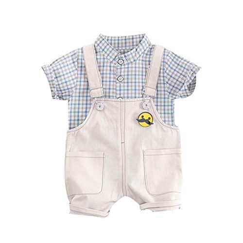 Deloito Kinder Jungen Kurzarm Plaiddruck T-Shirt Tops + Pocket Shorts Kleinkind-Baby Einfarbig Lätzchen Shirts Kurze Hosen Zwei Stück Overall Anzug (Hellblau,80/[12-18 Monate]) (Tragetaschen Winter-boots Für Frauen)