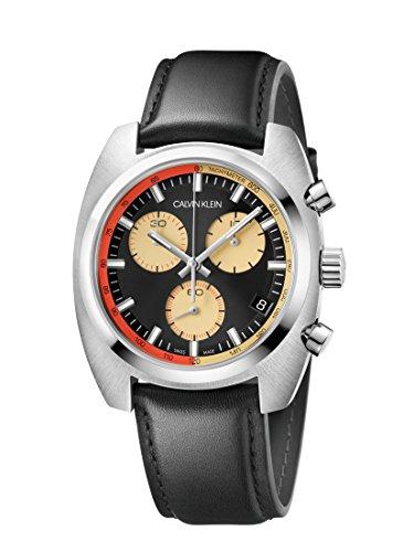 Calvin Klein Reloj Cronógrafo para Hombre de Cuarzo con Correa en Cuero K8W371C1