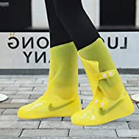 DUANGUOYAN Rain boots- Men and women double-breasted rain boots waterproof padded non-slip rain boots set outdoor (color : Yellow, Size : 38/39)