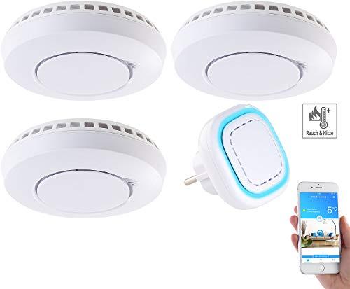 VisorTech Hitzemelder: Funk-Warnsystem WMS-250.hrg: WLAN-Gateway mit 3 Hitze-/Rauchmeldern (Smart Home Rauchmelder) - Zu App Hause Mit Sicherheit