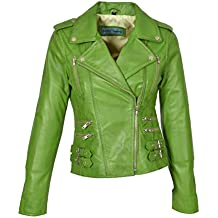 purchase cheap 2ab62 95ee2 Amazon.it: Giacca In Pelle Biker - Verde