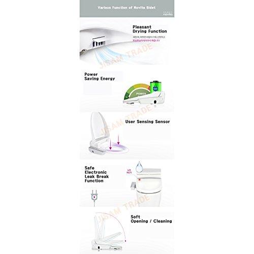 NOVITA bd-kn330WC-Bidet WC-Sitz Warm Wasser, Edelstahl Düse, Dry Funktion 220V & Englisch Quick Start Guide + Schlüssel Ring