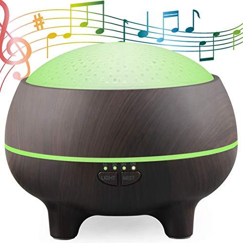 Musica Diffusore di Aromi 300ml Altoparlante Bluetooth Aromaterapia Umidificatore Diffusore Oli Essenziali con 15 Cambi di Colore 4 Impostazioni Timer Durata di Atomizzazione 8 Ore, Deep Wood Grain