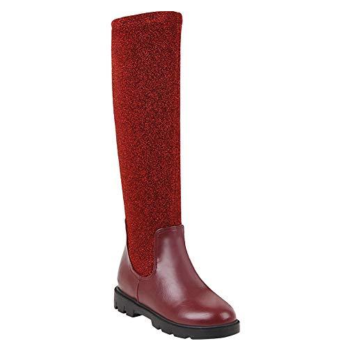 Unbekannt Bigtree Damen Stiefel Overknee Stretch Pull Auf PU Leder Erhöhte Ferse Elegant Winter Elastische Spitzen Flach Plattform Schneestiefel Rot -