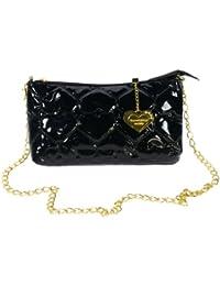 [Laura Favor] Fashion Negro Love Leatherette Satchel Bolso Para Mujer