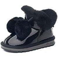 JIE Botas de Nieve para Niños Botas de Nieve para el Pelo Lindo Botas de Nieve para Niños Calzado de Niños de Invierno Botas de Algodón para Niños Calientes,Negro,30